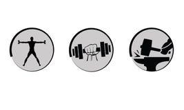 Levantamiento de pesas del vector, iconos de la fuerza fijados. Imágenes de archivo libres de regalías