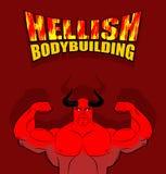 Levantamiento de pesas infernal Satanás con los músculos grandes Aptitud en infierno S Fotos de archivo