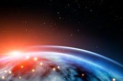 Levantamiento Sun sobre el planeta Fondo hermoso del espacio libre illustration