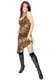 Levantando a menina bonita no vestido selvagem-colorido Imagem de Stock Royalty Free