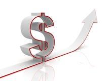 Levantar la flecha de la muestra de dólar en un fondo blanco Imágenes de archivo libres de regalías