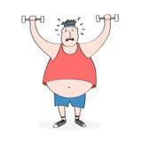 Levantar peso gordo do homem dos desenhos animados Foto de Stock