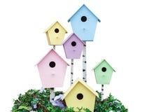 Levante la casa del estornino para los pájaros, pajareras de madera en diverso co Imagen de archivo