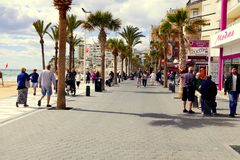 Levante promenad, Benidorm, Spanien Fotografering för Bildbyråer