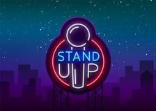 Levante-se o logotipo no estilo de néon A comédia é sinal de néon, símbolo, um convite a um desempenho da comédia, bandeira brilh ilustração stock