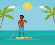 Levante-se o pensionista da pá que exercita no oceano Férias de verão Ilustração do vetor dos desenhos animados Excursão do mar a ilustração royalty free