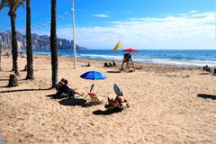 Levante strand, Benidorm, Spanien royaltyfri fotografi