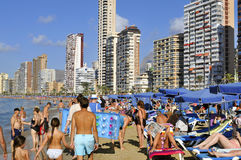 Levante-Strand, in Benidorm, Spanien Stockfotografie
