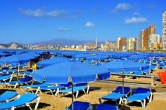 Levante strand, i Benidorm, Spanien Royaltyfri Foto