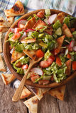 Levantine Salad - Fattouche Close Up In A Bowl. Vertical Top Vie Royalty Free Stock Photography