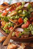 Levantine salad - fattoush close up in a bowl. Vertical Royalty Free Stock Image