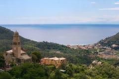 Levanto-Bucht von den Hügeln stockfoto