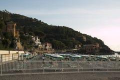 Levanto plaża przy zmierzchem italy Liguria Fotografia Stock