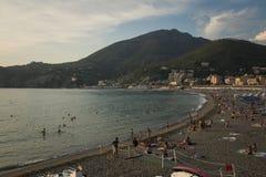 Levanto plaża przy zmierzchem italy Liguria Obrazy Stock