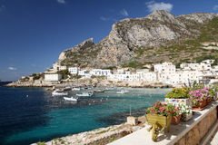 Levanzo Egadi islands. Fishermans village and characteristic vases with colorful flowers Royalty Free Stock Photos