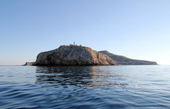 Levanzo, view from north. The lighthouse of Capo Grosso in Levanzo - Egadi islands Royalty Free Stock Image