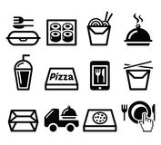 Leve embora a caixa, ícones da refeição ajustados Fotografia de Stock Royalty Free