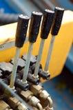 Leve idraulico di controllo di macchina Fotografie Stock Libere da Diritti