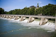 Levee. Near Deutsches Museum in Munich, Germany Stock Photo