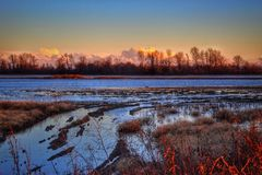 Levee flooding. Flooded field over the levee royalty free stock photos