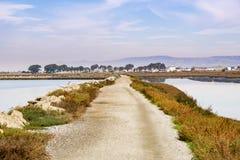 Levee on the marshes of East San Francisco bay, Hayward, California stock photo