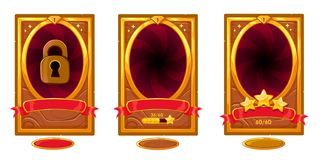 Free Level Background Card For Mobile Game Ui Design. Victory Ribbon Witch Stars. Royalty Free Stock Image - 147347746