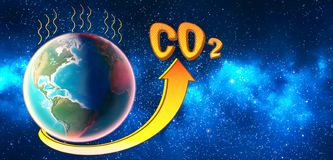 The level of CO2 in the atmosphere rises and exceeds the norm. The level of CO2 in the planet atmosphere rises and exceeds the norm. 3D render royalty free illustration