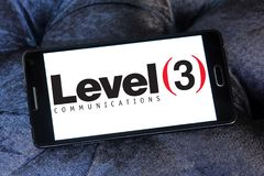 Level 3 Communications company logo. Logo of Level 3 Communications company on samsung mobile. Level 3 Communications is an American multinational Stock Image