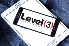Level 3 Communications company logo. Logo of Level 3 Communications company on samsung mobile. Level 3 Communications is an American multinational Royalty Free Stock Photo