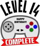 Level 14 complete. 14th birthday t-shirt design. Level 14 complete. Funny t-shirt or mug design for a 14 year old vector illustration