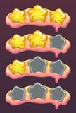 Level complete header with stars. Vector gui assets set. Game over screen Stock Image