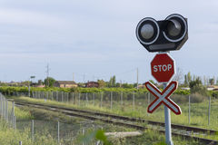 Level crossing. Royalty Free Stock Image