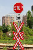Level crossing. With Stop-sign Royalty Free Stock Photo