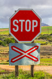 Level crossing warning sign Royalty Free Stock Photos