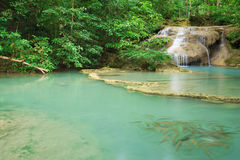 Level 1 of Erawan Waterfall with Neolissochilus stracheyi fish i Stock Photo