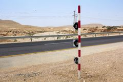 The level of flooding of roads in the rainy seadon in the Negev. This is a sign that marks the level of flooding of roads during the rainy season in the Negev royalty free stock photo
