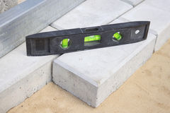 Level gauge It is applied at stone blocks laying Royalty Free Stock Photo