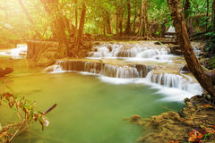 Level 7 of Huay Mae Kamin waterfall in Khuean Srinagarindra Nati Royalty Free Stock Images