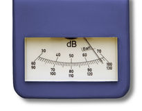 Level meter on phonometer. Close up of operating level meter on phonometer royalty free stock images