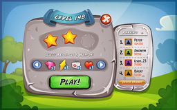 Level Panel With Options For Ui Game. Illustration of a funny cartoon design ui game stone level and control panel, with status, ranking and stars, for app on stock illustration