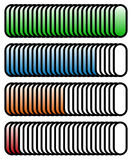 Level, progress indicators with levels in sequence from low to h Royalty Free Stock Photo