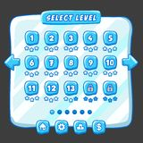 Level selection game menu ice style Stock Image
