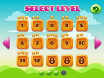 Level selection screen Stock Photography
