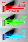 Level selector Power MIN - 3D rendering. A series of 3 selectors for power level on MIN position. Red, Green and Blue colors available - 3D rendering royalty free illustration