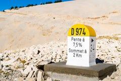 Level stone Mont Ventoux. Level stone at the Mont Ventoux Stock Photo