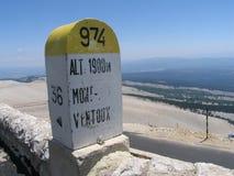 Level stone Mont Ventoux. 1900 meters above sea - Mont Ventoux, Provence, France Stock Photos