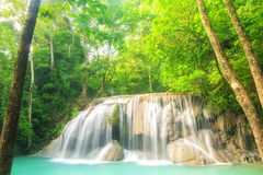 Level two of Erawan Waterfall in Kanchanaburi Province, Thailand Royalty Free Stock Photo