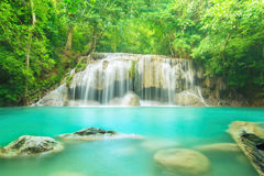 Level two of Erawan Waterfall in Kanchanaburi Province, Thailand Royalty Free Stock Image