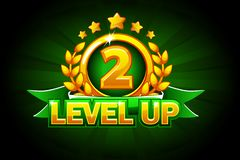 Level UP banner with green ribbon and text. Vector illustration for casino, slots, roulette and game UI. Isolated on a separate layers stock illustration