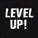 Level Up glitch text. Anaglyph 3D effect. Technological retro background. Vector illustration. Creative web template. Flyer, poster layout. Computer program Stock Image